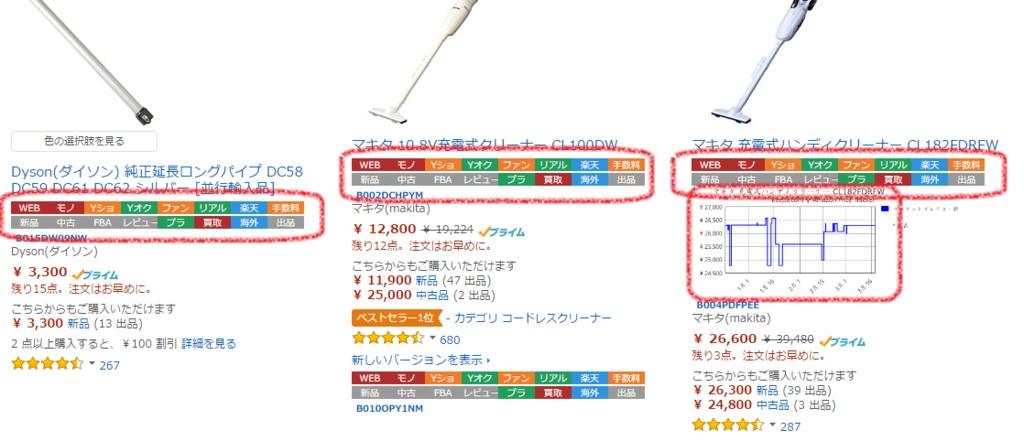 ショッピングリサーチャーの表示例