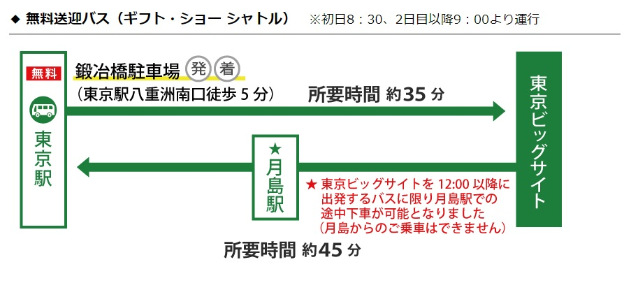 東京駅からの無料シャトルバス